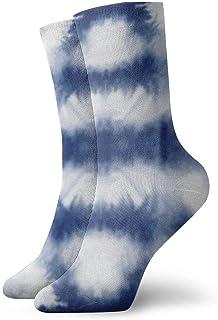 Tie Dye Shibori Print Blue Calcetines tobilleros Casual Divertido para arranque deportivo Senderismo Running Etc