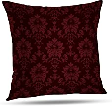 Batmerry Floral Pillow Covers 18x18 Inch, Vintage Victorian Damask Red Design Double Sided Decorative Pillows Cases Throw Pillows Covers