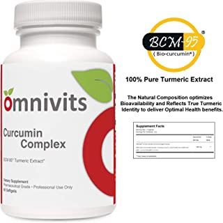Omnivits Curcumin Complex | 100% Pure Natural Bioavailable BCM-95 Turmeric Extract Formula | Provides Antioxidant & Supports Joint Health | 60 Softgels
