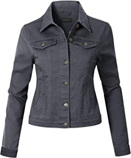 Womens Vintage Long Sleeve Denim Jacket with Pockets