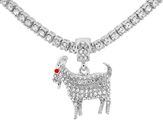 White Gold-Tone Hip Hop Bling Simulated Crystal Goat Pendant with 24