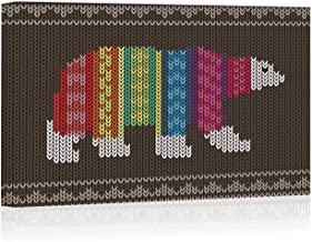 Actorstion Polar Bear Wearing Sweater on The Knitting Pattern Canvas Wall Art,Happy New Year Modern Home Decor Stretched and Framed Ready to Hang,12