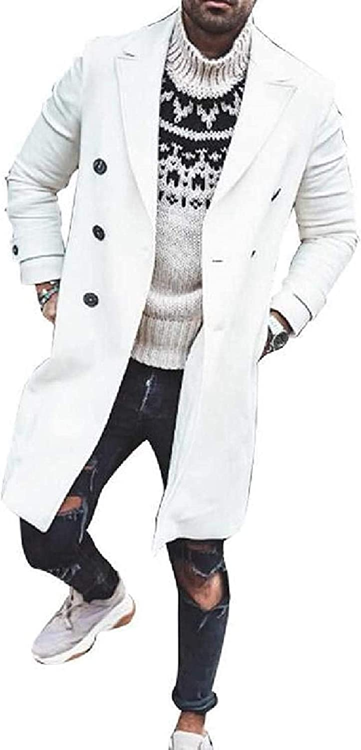 Men's Winter Double Breasted Solid Color Long Jacket Wool Blend Top Coat