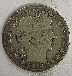 1914 S Silver Barber Half Dollar 50c - Very Good (VG)