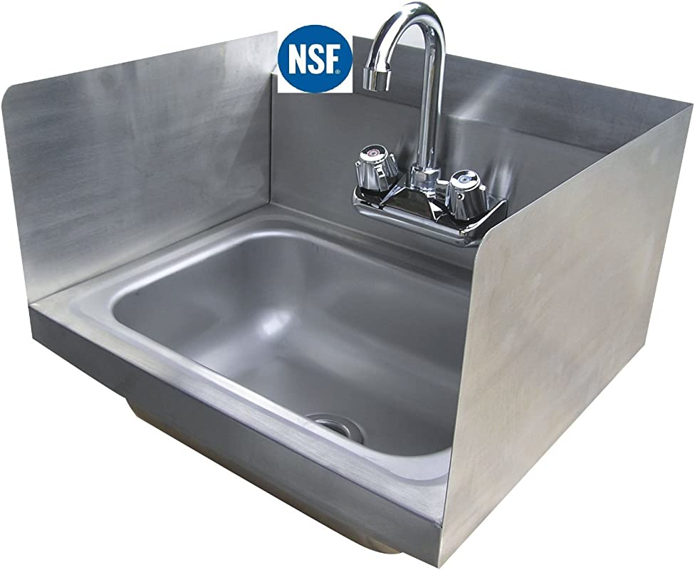 Stainless Steel Hand Sink With Side Splash NSF Commercial Equipment 12 X 12