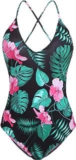 Ekouaer Swimwear Womens Monokini Swimsuits Sexy Cross Lace Up Low Back Print One Piece Bathing Suits S-XXL