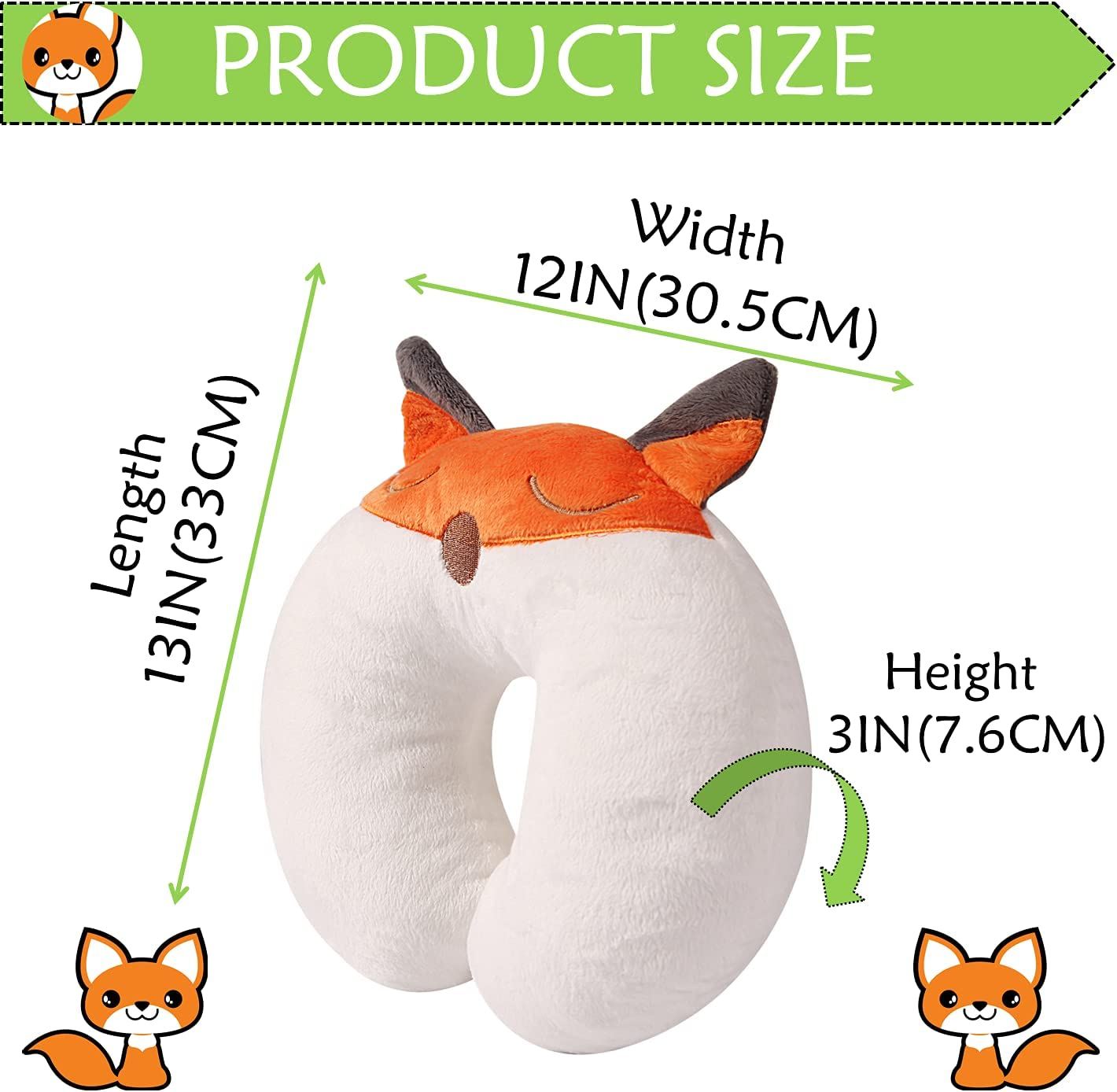 Little Grape Land Kids Travel Pillow Toddler Neck Pillow U-Shaped Animal Baby Neck Pillows with 3D Embroidery for Airplane and Car Fox