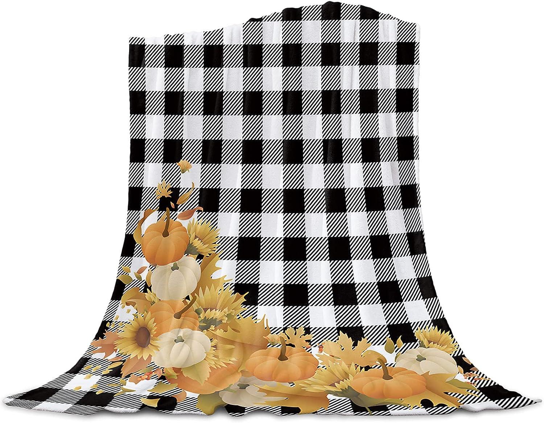LBDOMOV Elegant Home Decor Fleece Flanel and Throw Luxury goods Blanket Pumpkin Fall