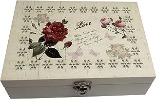 صندوق مجوهرات فوريست آند تويلفث مع حواف وردة جميلة مقطوعة بالليزر، منظم تخزين خشبي للخواتم والأساور، والعقود، هدية رائعة ل...