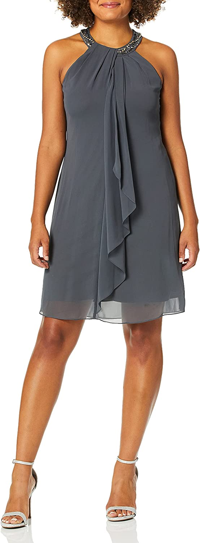 S.L. Fashions Women's Jewel Neck Sheath Dress Petite and Regular
