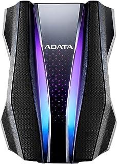 Adata External 2.5 inch HDD, USB3.2, 1TB, Rugged Design, Two Light Beam Shaped RGB Lighting, Black, AHD770G-1TU32G1-CBK