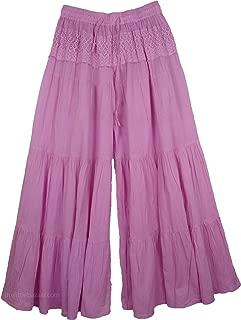 Viola Gaucho Palazzo Pants Split Skirt - W:26-36in L:38in Pink