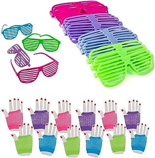 Dozen 80's Rock Star Fishnet Gloves with Neon Shutter Glasses