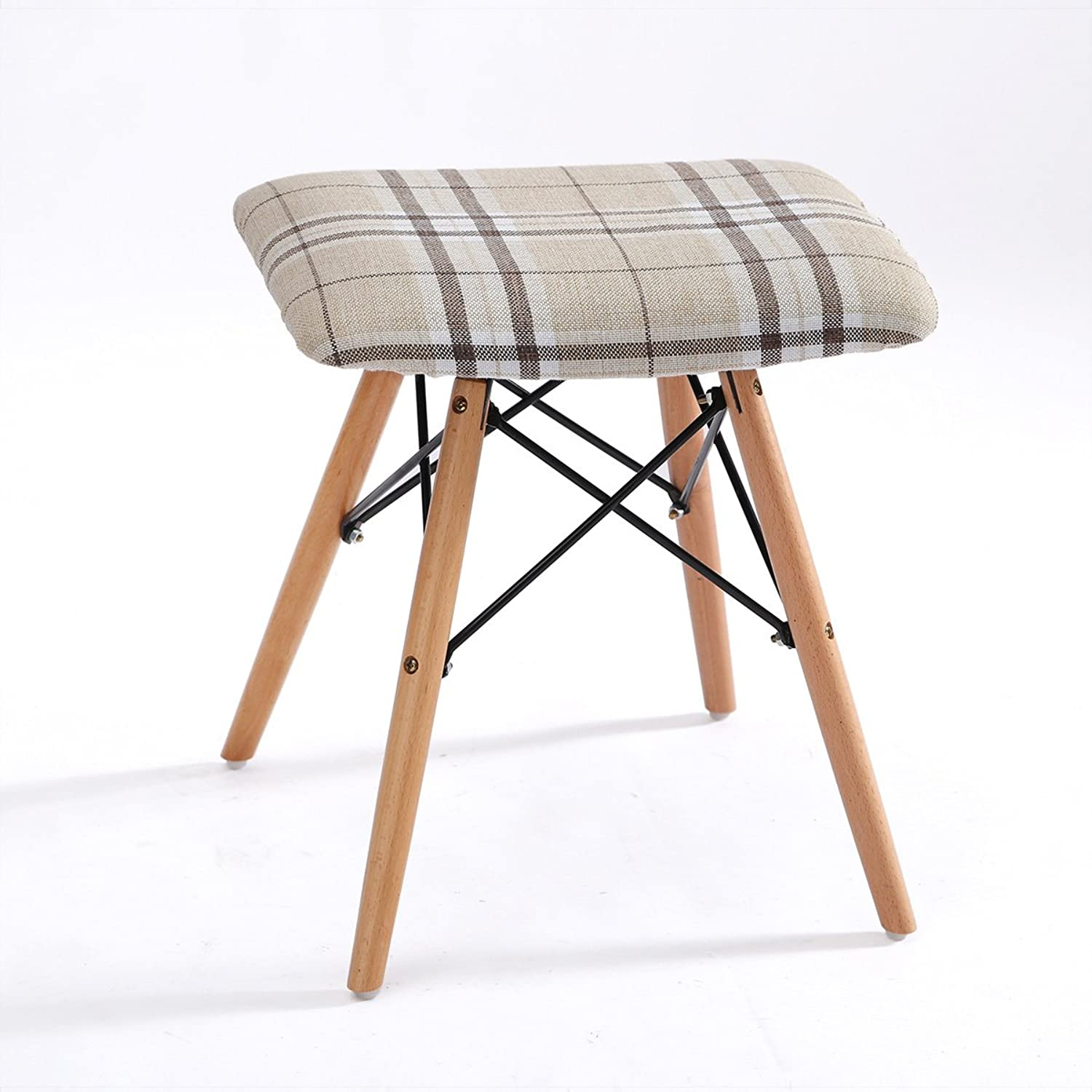 Feifei Bar Stool Solid Wood + Fabric + Iron Modern Minimalist Leisure Household Practical Stool (color   02)