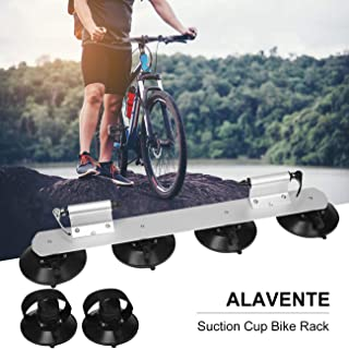 ALAVENTE Sucker Bike Rack High Strength Suction Car Roof Bike Rack Roof Cup Bicycle Carrier Quick Release Aluminium Alloy Roof Rack Fit for Most Cars (Two Bikes-Silver)