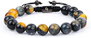 GT Collection Men's Beaded Bracelet - Wearer with Name, Fame, Fortune, And Money – 100% Natural Wrapped - Gemstones Beaded...