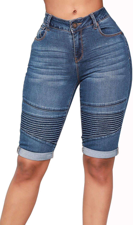 Oflive Women's Strench Knee Length Short Jeans Destroyed Bermuda Denim Shorts