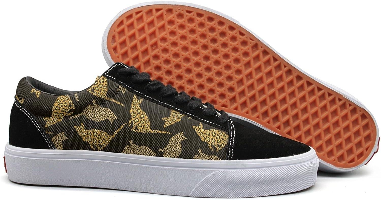Feenfling Cat Leopard Print Decor Black Womens Flat Canvas Low Top Best Sneakers shoes for Women Girls