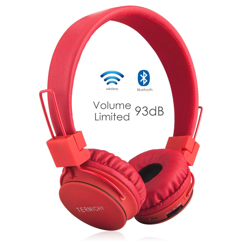 Auriculares Inalámbricos Bluetooth para Niños Adulto, Cascos Recargables y Plegables con Micrófono y Limitador de Volumen para Tableta, PC, Smartphone, Música por Termichy (Rojo): Amazon.es: Electrónica