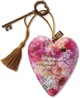 DEMDACO Friends Are Flowers In Garden Of Life Pink Floral 4 x 3 Inch Heart Shaped Resin Keepsake Decoration