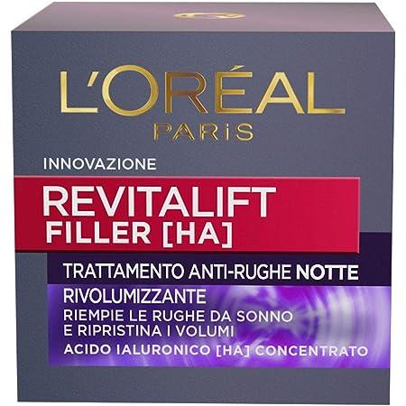 L'Oréal Paris Crema Viso Notte Revitalift Filler, Azione Antirughe Rivolumizzante con Acido Ialuronico Concentrato, 50ml