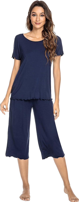 YOSOFT Bamboo Pajamas for Women Soft Pajama Sets Short Sleeves Top with Pants Pjs Plus Size Loungewear S-4X