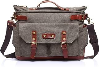 SGJFZD Canvas Leisure Travel Computer Bag Men's Messenger Bag Shoulder Portable Multifunction Bag Briefcase (Color : Gray, Size : M)