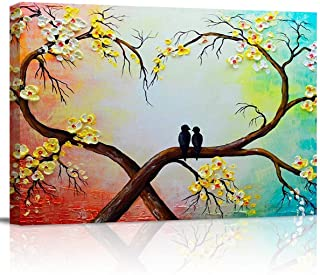applebless Canvas Oil Painting Bird on Flower Tree Wall Art Conjugal Love Heart Shape Watercolour Picture Prints for Livin...