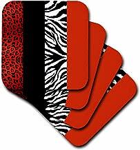 3dRose cst_35438_1 Red/Black/Orange/White Animal Print Leopard and Zebra Soft Coasters, Set of 4