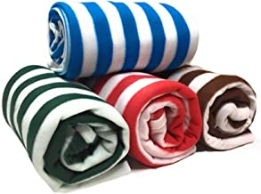 Homescape Supersoft Single Bed Lightweight AC Fleece Blanket(Set of 4)-60x90(Colored Stripes)