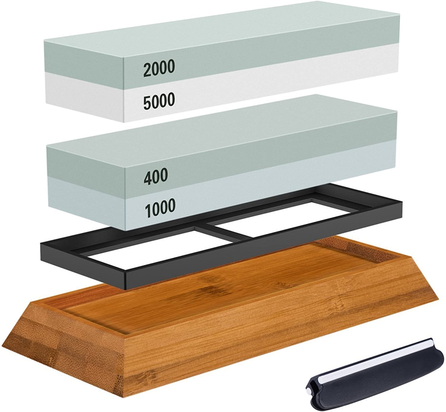 Premium Knife Sharpening Stone Kit, ASEL 4 Side 400 1000 2000 5000 Grit Whetstone, Best Kitchen Blade Sharpener Stone, Non-Slip Bamboo Base and Bonus Angle Guide Included
