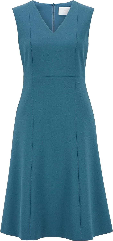 portugiesischem Stretch-Gewebe mit V-Ausschnitt BOSS Damen Dardelle Kleid aus zweiseitigem