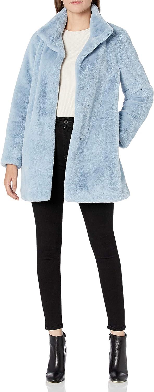 Calvin Klein womens Womens Chevron Faux Fur Coat