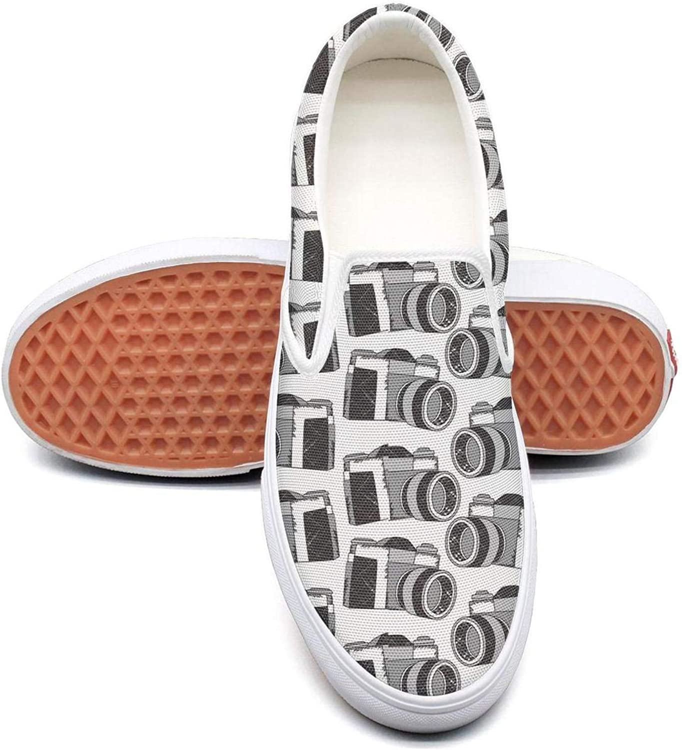 Refyds-es Black Camera Pattern Womens Fashion Slip on Low Top Lightweight Canvas Basketball shoes