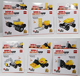 Bottles N Bags 6 Building Block Construction Vehicles for Kids - Assorted Mini Toy Building Kits - Birthday Party Favors & Toys - 6 Sets