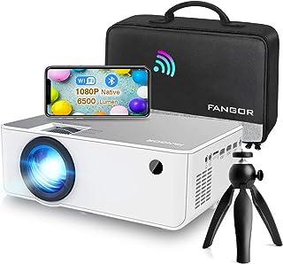 Proyector WiFi FANGOR 1080P Nativo HD Proyector Vídeo 6500 Lumens portátil Bluetooth Proyector Cine en casa Proyector Comp...