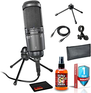 Audio-Technica AT2020USB+ Cardioid Condenser USB Microphone with Pouch, 6Ave Cleaning Kit, and 1-Year Extended Warranty