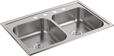Kohler 4015 4 Na Toccata 33 X 22 Top Mount Double Equal Bowl Kitchen Sink With Four Faucet Holes Stainless Steel Double Bowl Sinks Amazon Com
