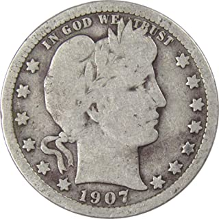 1907 25c Barber Silver Quarter US Coin Genuine