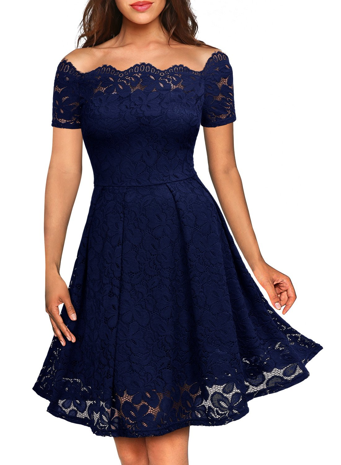 Party Dresses - Women's Vintage Floral Lace Short Sleeve Boat Neck Cocktail Party Swing Dress