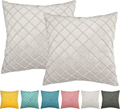 O'woda Pack of 2 Velvet Throw Pillow Covers Set, 18 x 18 Inches, Decorative Soft Square Cushion Case with Hidden Zipper fo...