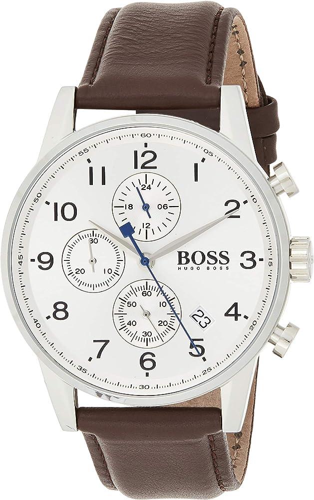 Hugo boss orologio cronografo da uomo con cinturino in pelle 1513495