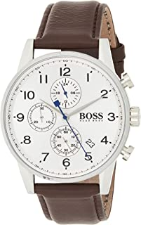 Hugo Boss Mens Quartz Watch, Analog Display and Leather Strap 1513495