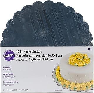 Wilton Round Cake Platter, Silver, 12 inch, WT-2104-1166, 8 Pieces