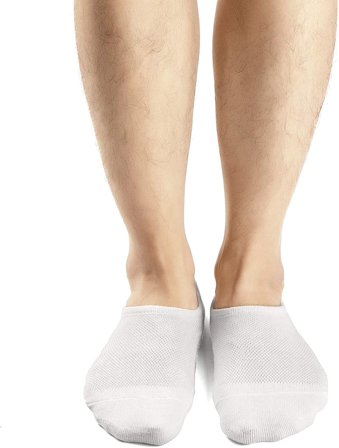 Mottee&Zconia Mens Low Cut No Show Casual Comfy Non-Slip Socks 5 pack White Size M