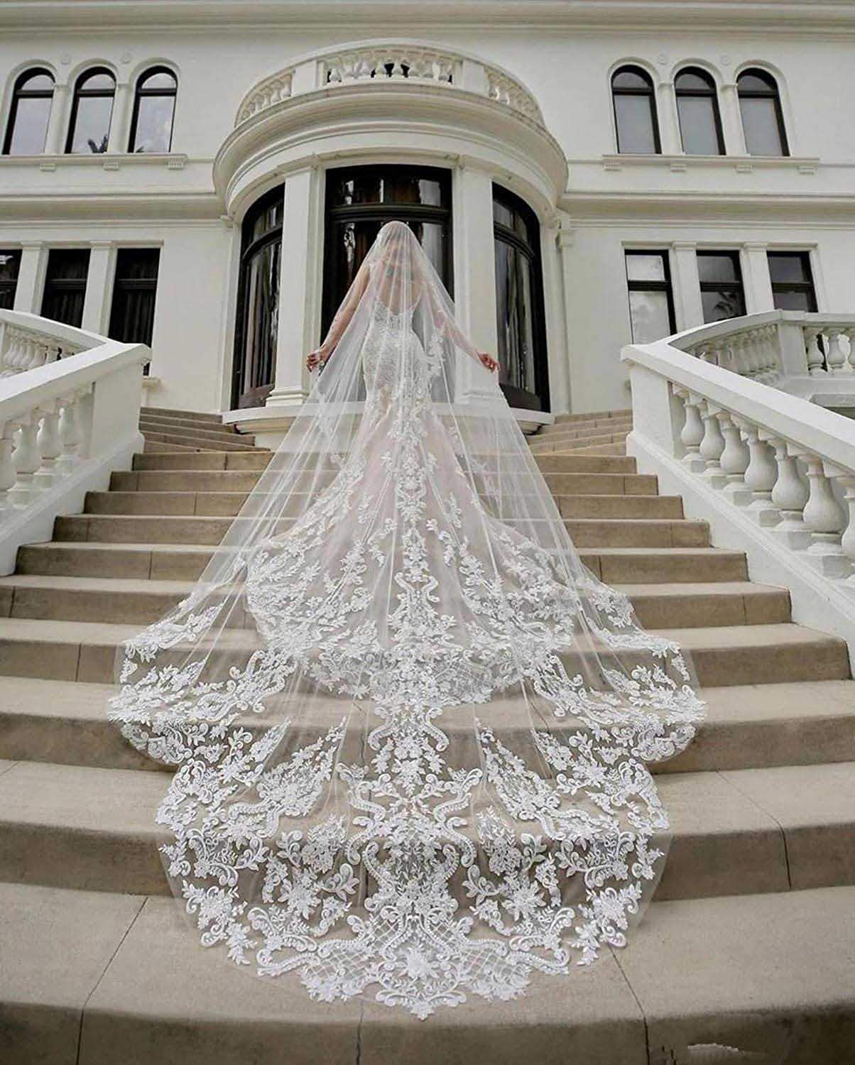 Fancy Wedding Veils for Brides Ivory Cathedral 1 Tier Royal Lace Bridal Veils with Comb