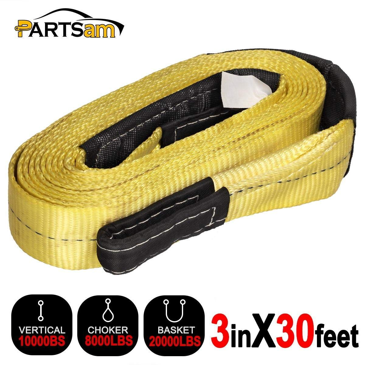 3 x30 Polyester Heavy Duty 30,000 LB Capacity Partsam 30FT 3 Securing Towering Strap with Safety Hooks