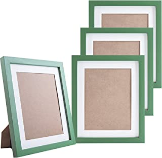 KRII Green Picture Frames 8x10 (4 Pack) Made of Natural Solid Wood, Display Pictures 6x8 8x10, Both Vertical and Horizontal Supported