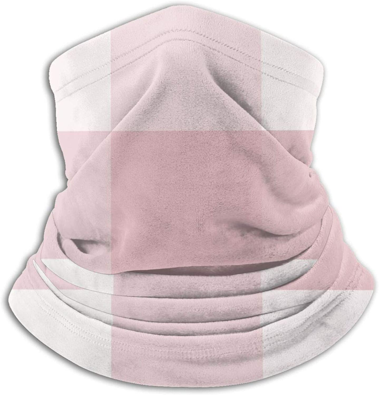 Winter Neck Gaiter Warmer Soft Face Mask Scarf Chic Pink Preppy Buffalo Check Plaid Outdoor Sports Neck Warmer Headwear for Men Women