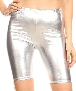 Sakkas Women's Shinny Metallic Bike Shorts Stretchy Unisex - Made in USA